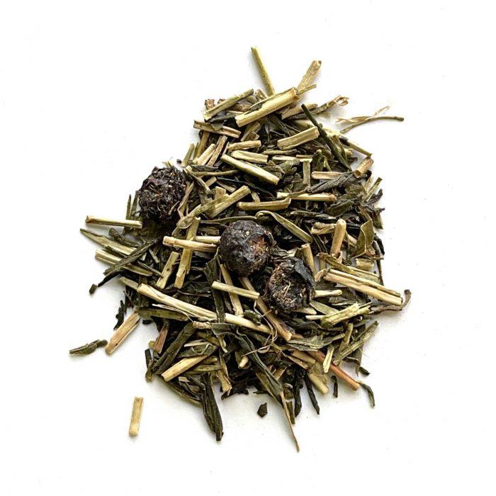 blueberry green kukicha tea organic